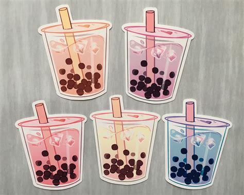aesthetic bubble tea boba sticker set    colors