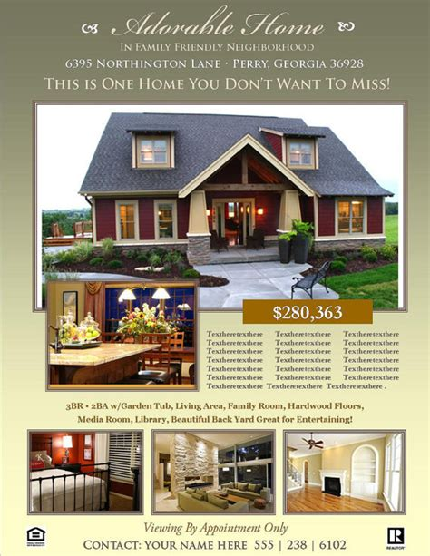 Real Estate Listing Brochure Template real estate flyer template microsoft publisher template