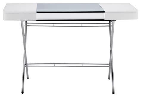 glass writing desk with drawers cosimo chrome glass top desk contemporary desks