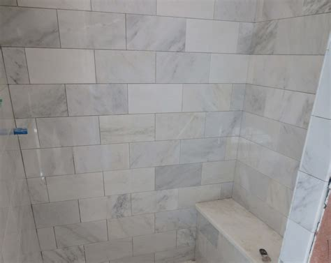 tiled shower seat marble carrara tile bathroom part 3 up look
