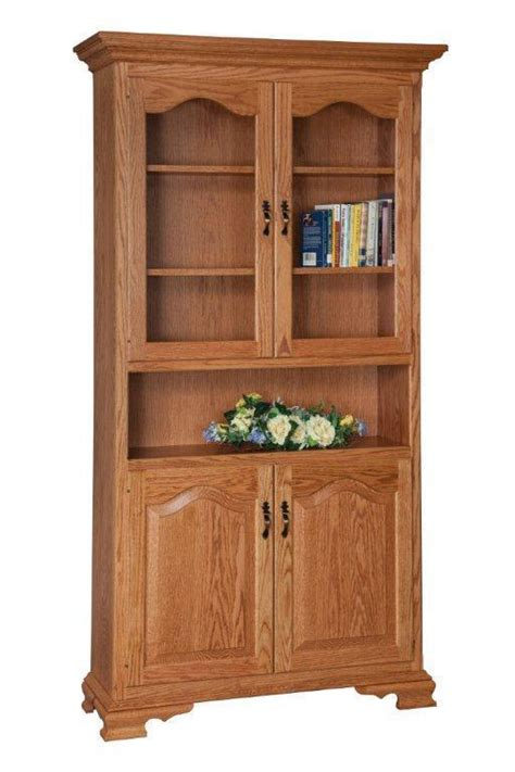 Unfinished Bookcases With Doors by Solid Wood Bookcase With Doors From Dutchcrafters Amish
