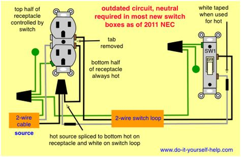 wiring diagram split receptacle diy light switch