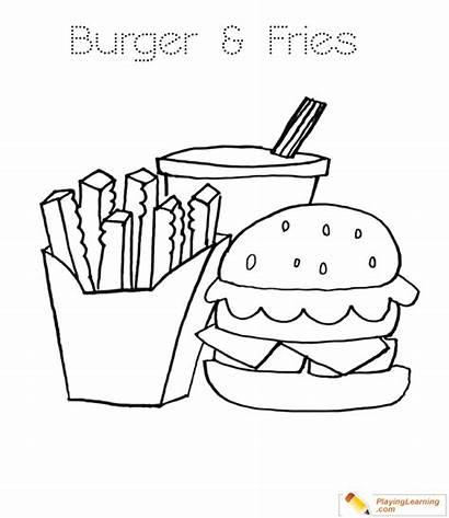 Burger Coloring Pages Fries Dog French Hamburger