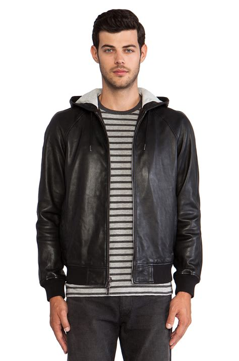 marc marc jacobs leather hoodie black men lyst