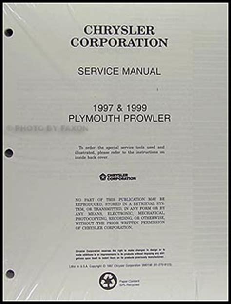 auto manual repair 1997 plymouth prowler parking system 1997 plymouth prowler repair shop manual original