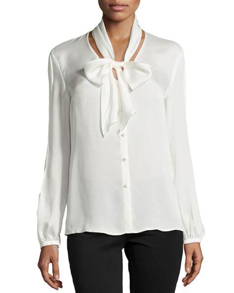 silk tie neck blouse escada sleeve tie neck silk blouse in white lyst
