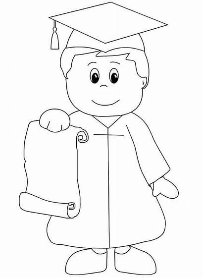 Coloring Graduation Kindergarten Pages Preschool Cap Printable