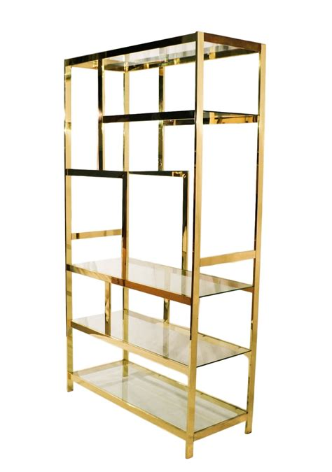What Is Etagere by Mid Century Milo Baughman Brass Glass Etagere
