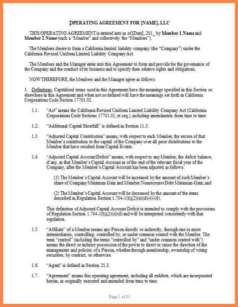 corporation operating agreement template purchase