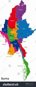 Map Of Union Of Myanmar  Burma  With The Provinces Colored