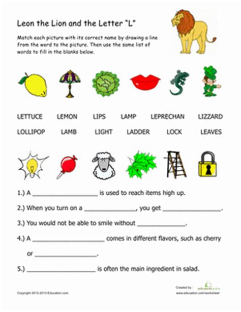 l words for words that begin with quot l quot worksheet education