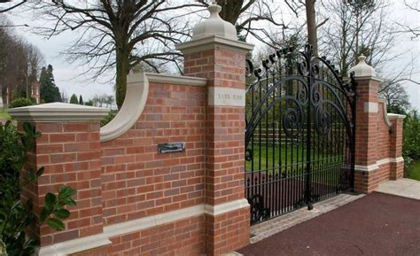 brick wall with gate front gate designs with brick wall pillar