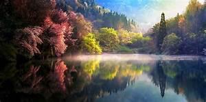 555016, Nature, Spring, Sunrise, Mist, Lake, Trees, Reflection
