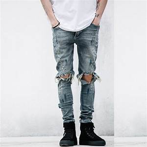 NEW Fashion Style street mens destroyed jeans hole casual splash-ink pants ankle cool jogger ...