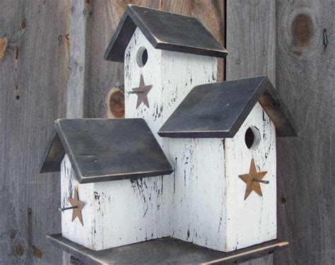Primitive Country Rustic Condo Birdhouse White Black