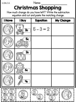 christmas math worksheets 1st grade by united teaching tpt
