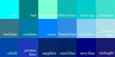 Shades Of Blue Color Names