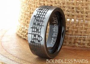 tungsten music wedding band favorite song black and white With music wedding ring