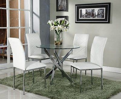 clear glass dining table set chrome and with 4 white faux
