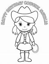 Cowgirl Coloring Pages Printable Pigtails Hat Cowboy Personalized Birthday Drawing Cowgirls Childrens Colouring Activity Pdf Sheets Horse Favor Outline Boots sketch template