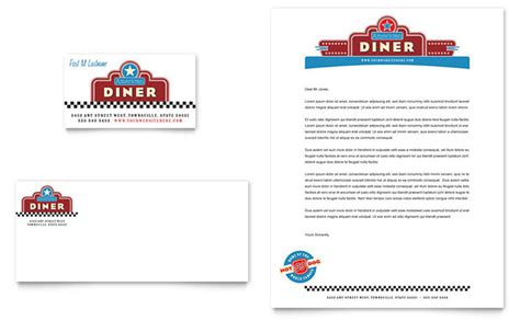 american diner restaurant business card letterhead