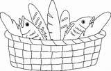 Bread Coloring Basket Utilising Button sketch template