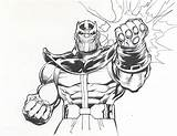 Thanos Coloring Infinity Pages Gauntlet Fist Marvel Power Drawing Lineart Adams Printable Neal Comics War Avengers 1980s Coloringonly Categories sketch template
