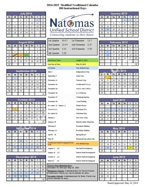 natomas unified school district calendar printable calendar