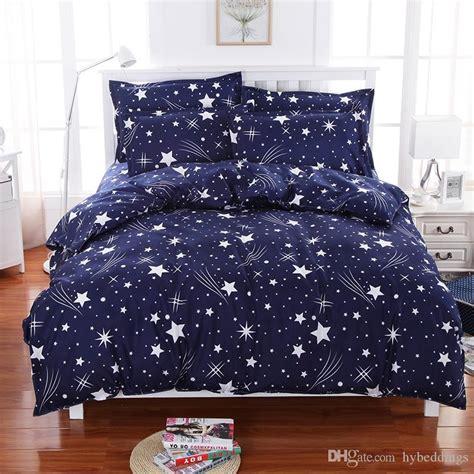 gold star duvet cover meteor shower stars blue bedding set soft polyester duvet