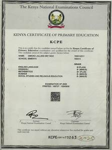 Certificate Of Performance Kcpe Certificate