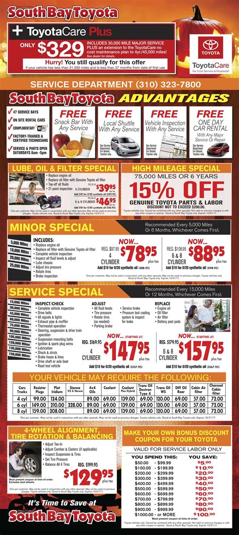 South Bay Toyota by Service And Parts Specials South Bay Toyota