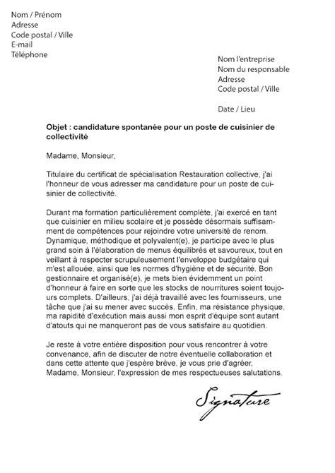 lettre cuisine lettre de motivation cuisinier de collectivité modèle de