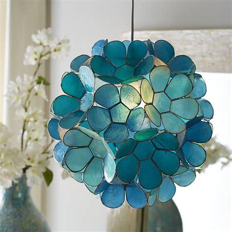 daisy capiz pendant light  turquoise