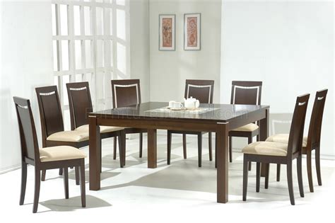 dark walnut modern dining table wglass inlay optional