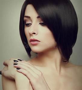Black Short Hair Style Female Model Stock Photo Image Of