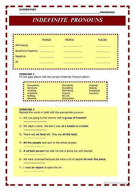worksheets on indefinite adjectives worksheet exle
