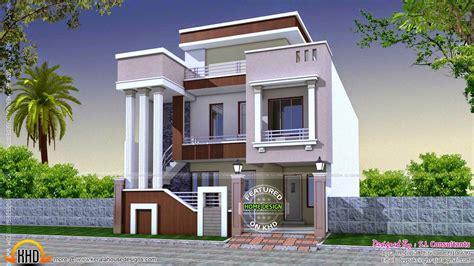 Cute Modern Home Long Pillars Kerala Design Floor