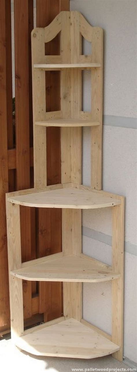 corner wood shelf give second to used pallets pallet wood projects