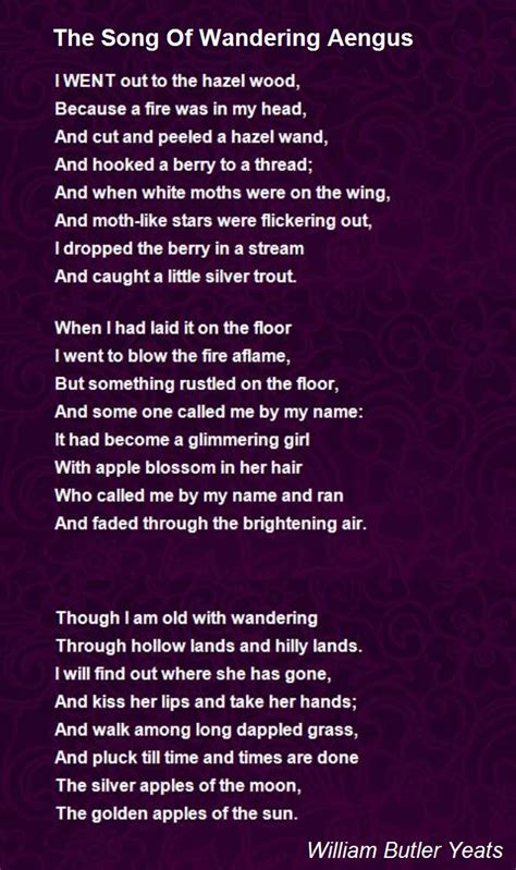 Music is a moral law. The Song Of Wandering Aengus Poem by William Butler Yeats - Poem Hunter