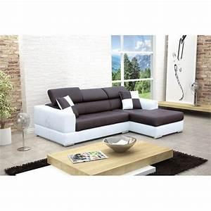 Canapé Blanc Design : photos canap d 39 angle design noir et blanc ~ Teatrodelosmanantiales.com Idées de Décoration
