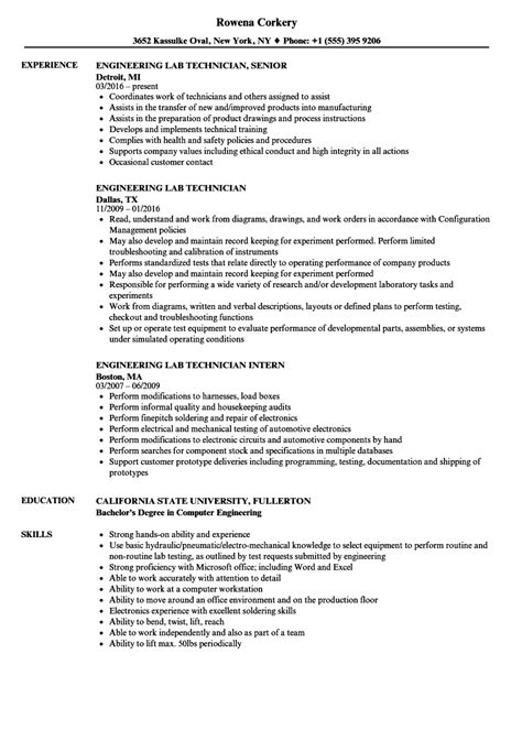 engineering lab technician resume sles velvet