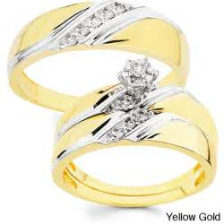 engagement ring cheap 10k gold 1 10ct tdw his and wedding ring set h i i1 free shipping today overstock
