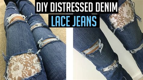 diy distressed jeans tutorial  lace youtube
