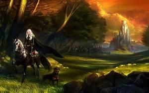 warrior, women, white, hair, artwork, fantasy, art, knights, dog, horse, army, castle, forest, trees, armor