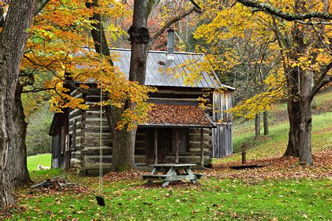 fall country cabin  quaint country cabin surrounded