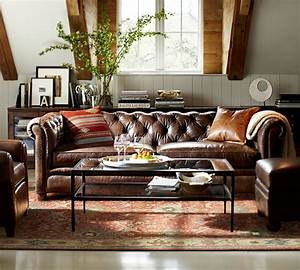 Chesterfield leather sofa 218 cm pottery barn au for Chesterfield loveseat pottery barn
