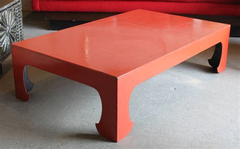 red coral table l vintage red coral lacquered chinese coffee table for sale