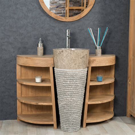 salle de bain teck meuble sous vasque simple vasque en bois teck massif vasque en marbre florence