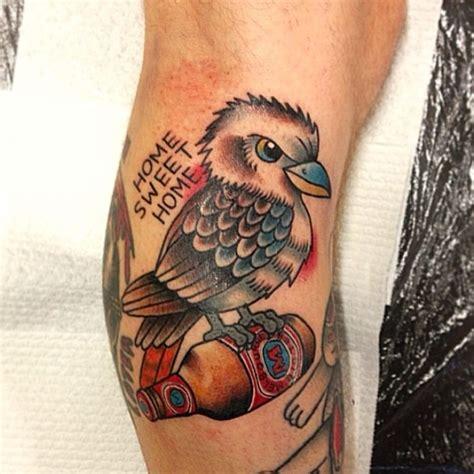 superb black  grey kookaburra tattoo  chest  pari