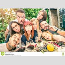 Best Friends Taking Selfie At Reatsurant Drinking Wine Stock Image  Image Of Drink, Faces 78466131